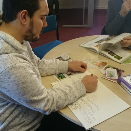 Andy writes down his favourite veg